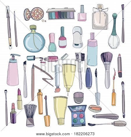 Fashion cosmetics set with make up artist objects. Colorful vector hand drawn illustration collection