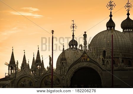 Domes of Palazzo Ducale in Venice at sunset, Italy