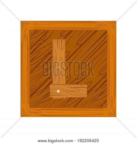 wooden alphabet L letter icon isolated on white background