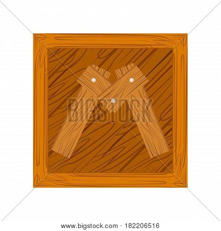 wooden alphabet M letter icon isolated on white background