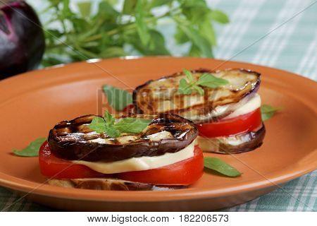 Aubergine towers with mozzarella cheese and tomato