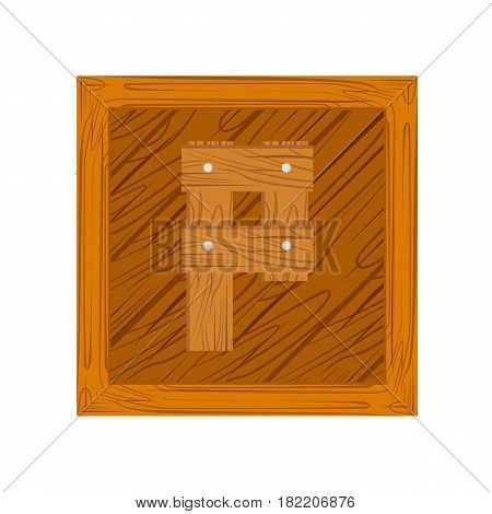 wooden alphabet P letter icon isolated on white background
