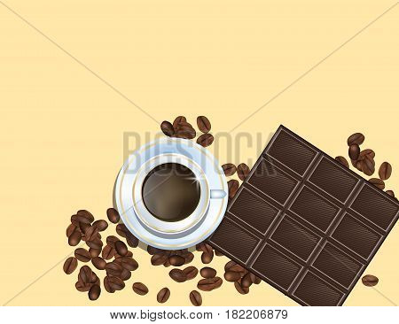 Coffee Beans Chocolate Bar and White Cofee Cup Isolated in Yellow Background. Vector Illustration. Eps10.