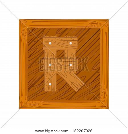 wooden alphabet R letter icon isolated on white background