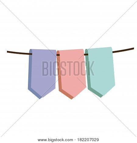 set pastel color decorative pennants celebration vector illustration