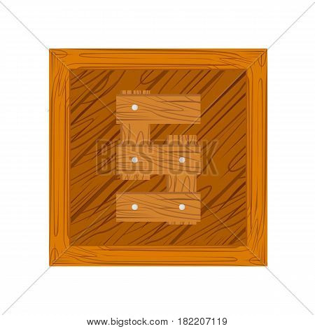 wooden alphabet S letter icon isolated on white background