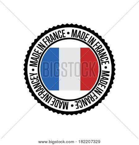 Made in France round rubber stamp for products vector illustration isolated on white background. Exporting stamp with french flag, certificate element