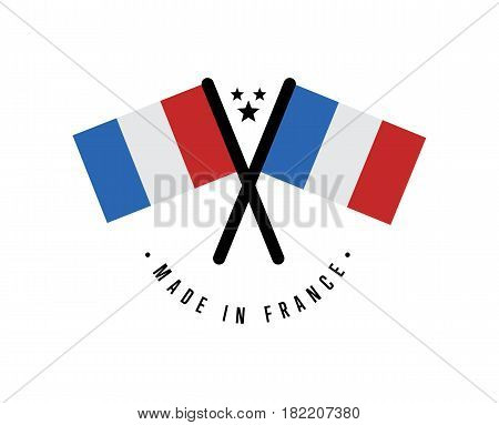 Made in France certificate element for products vector illustration isolated on white background. Exporting sticker with crossing french flags