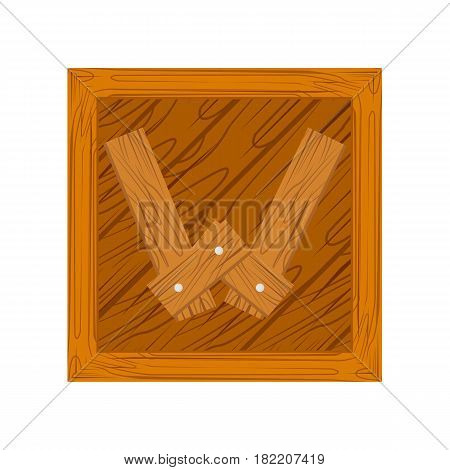 wooden alphabet W letter icon isolated on white background