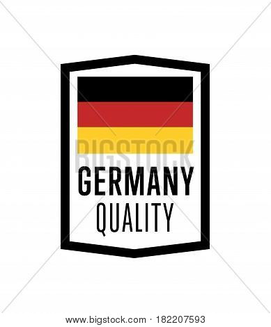 Germany quality label for products vector illustration isolated on white background. Square exporting stamp with deutsch flag, certificate element