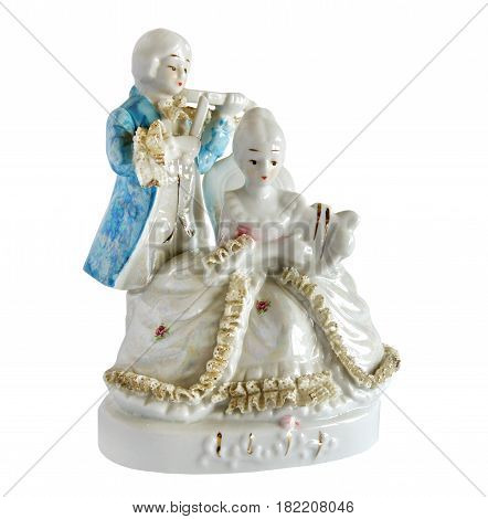 Vintage style serial porcelain figurine The Musical Duo isolated on white background