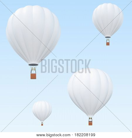 Hot Air balloons, white hot air balloons with basket on sky background, 3d rendering