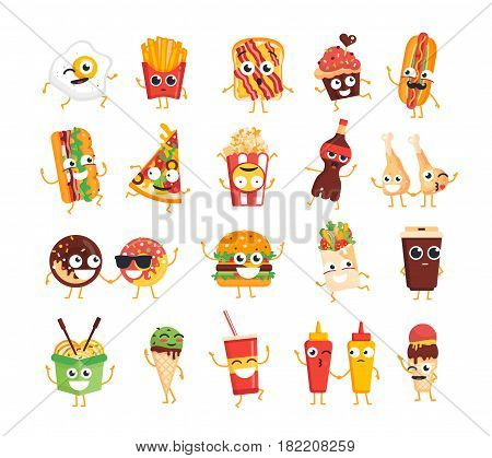 Fast Food Characters - modern vector template set of mascot illustrations. Gift images of ice cream, coffee, hot dog, pizza, chicken leg, egg, french fries, toast, burger, coke, popcorn, wok, donut, mustard, ketchup, soft drink