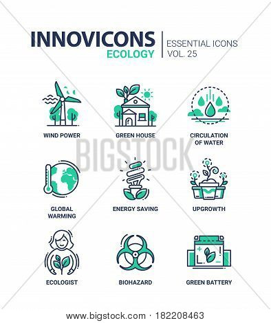 Ecology - modern color vector single line icon set. Wind power, green house, circulation of water, global warming, energy saving, upgrowth, ecologist, biohazard, battery