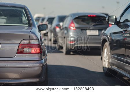Row Of Car With Traffic Jam