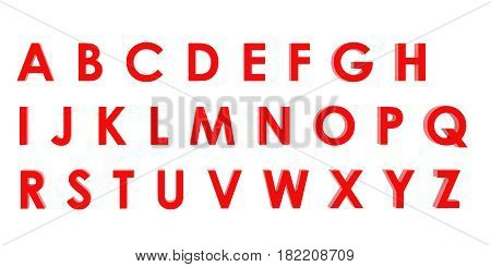 3D Rendering Red English Alphabet A To Z Isolated On White Background, Clipping Path Inside