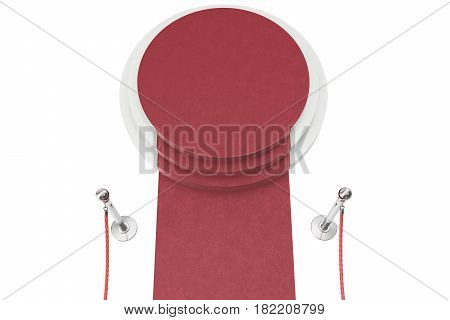 Red carpet isolated on white background, 3d rendering of silver stanchions and ropes between them