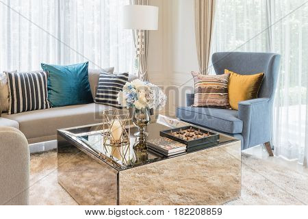 Luxury Living Room With Set Of Sofa And Table