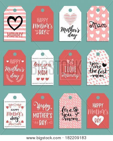 Happy Mothers day vector set of tags and labels. Greeting cards illustrations collection. Hand lettering calligraphy holiday background.