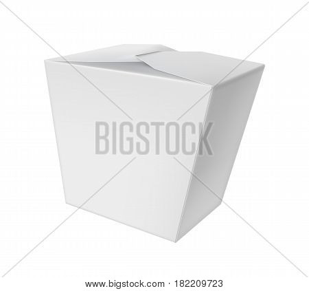Take away chinese noodle box isolated on white background vector illustration. Packaging design element for branding.