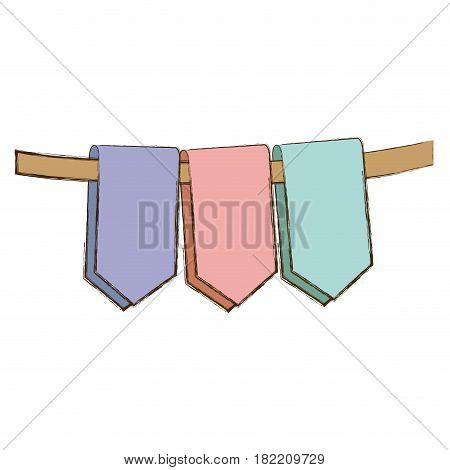 set pastel color decorative pennants celebration party vector illustration