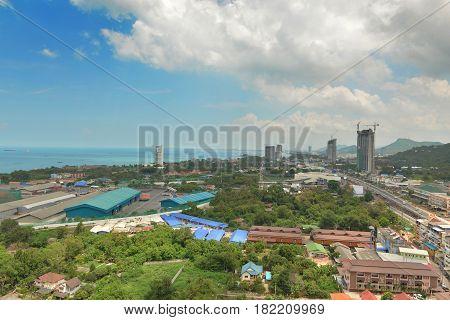 blue sea in view point Sriracha Chonburi Thailand