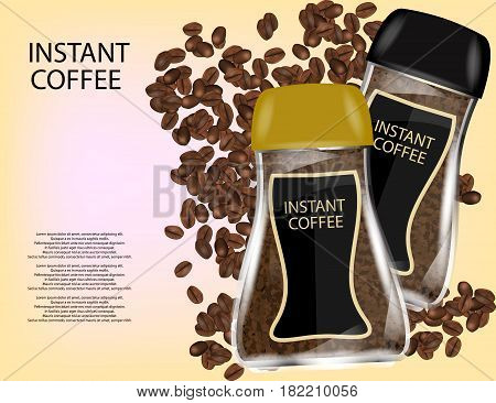 Coffee Glass Jar with Instant Coffee Granules and Coffee Beans Isolated on Yellow Background. Vector Illustration.