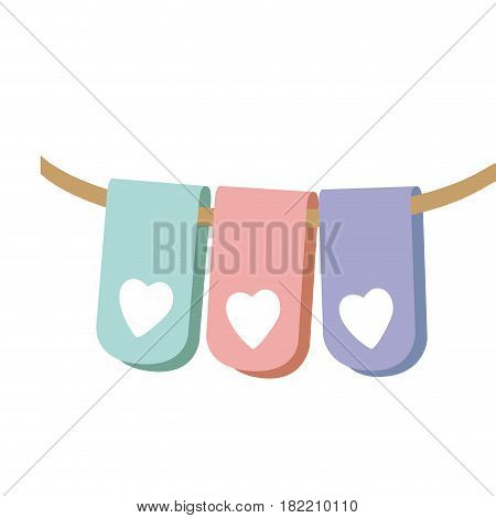 pastel color silhouette set flag in a rope for decoration with heart shape inside vector illustration