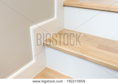 Modern Stair Design With Wooden Tread And White Riser