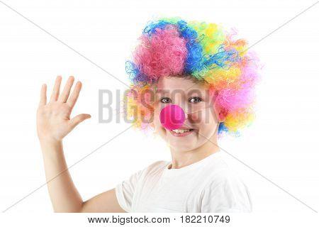 Portrait of little boy clown on white background