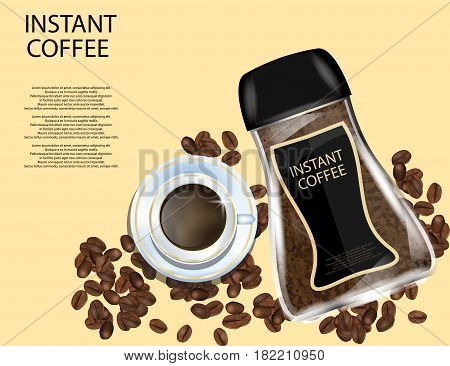 Coffee Glass Jar with White Cap Instant Coffee Granules and Coffee Beans Isolated on Yellow Background. Vector Illustration.