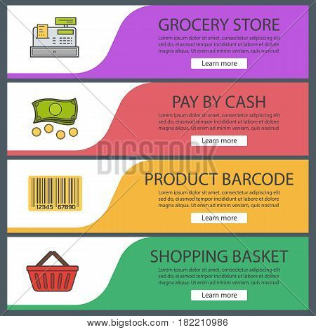 Supermarket banner templates set. Grocery store. Product barcode, cash register, shopping basket, money. Website menu items. Color web banner. Vector headers design concepts