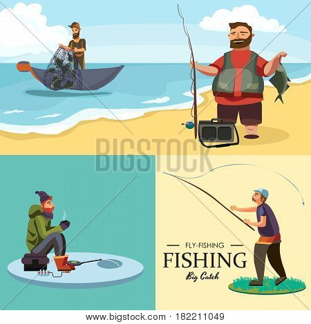 Happy fisherman stands and holds in hand fishing rod with spinning and fish catch, bag with fishman spin and equipment, funny cartoon vector illustration, Man active vacation banner or Flyer concept.