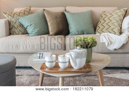 set of pillows on classic sofa in modern living room