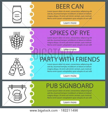 Beer banner templates set. Beer can and bottles, spikes of rye, pub signboard. Website menu items with linear icons. Color web banner. Vector headers design concepts