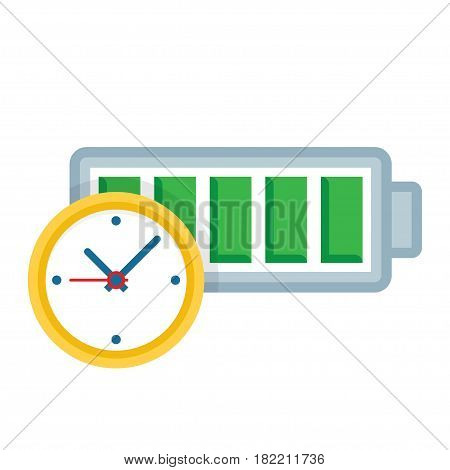 Battery life clock icon on white background. Vector illustration