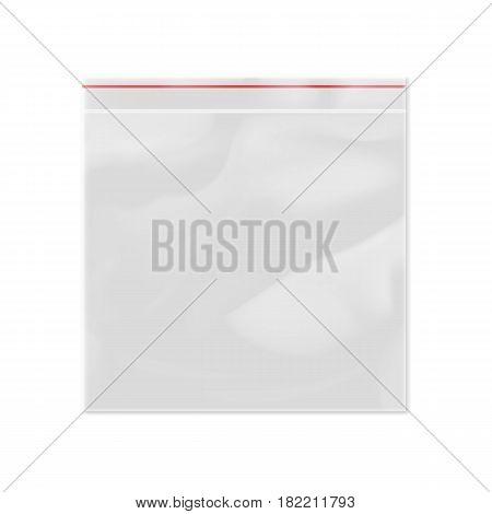 Blank 3d model plastic zipper bag isolated on white background vector illustration. Packaging design element