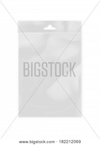 Plastic bag template for transparent mockup isolated on white background vector illustration. Packaging design element