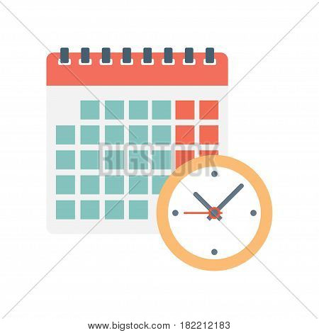 calendar and clock icon. Schedule appointment on white background Vector Illustration