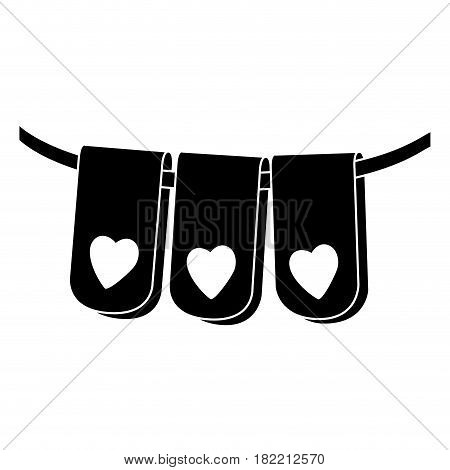 black silhouette set flag in a rope for decoration with heart shape inside vector illustration