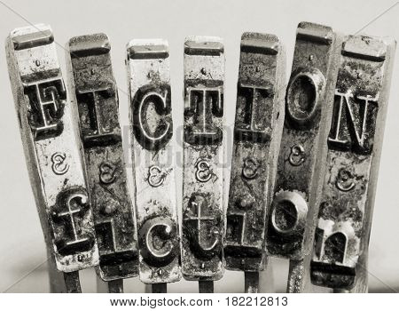 the word  FICTION made from old typewriter text