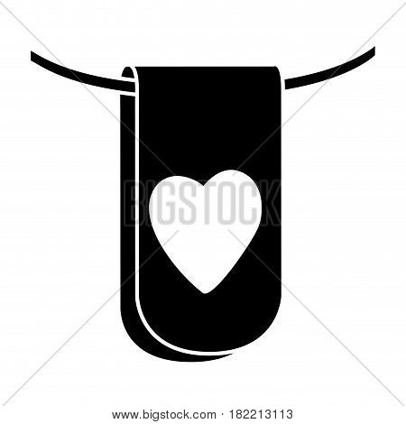 black silhouette flag in a rope for decoration with heart shape inside vector illustration