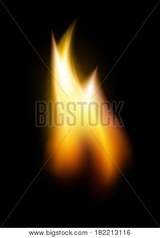 Orange flame tongue vector element isolated on black background vector illustration.