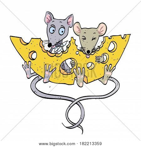 Cartoon image of mice with cheese. An artistic freehand picture.