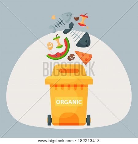 Recycling garbage organic elements trash bags tires management industry utilize concept and waste ecology can bottle recycling disposal box vector illustration. Eco pollution refuse service plastic.