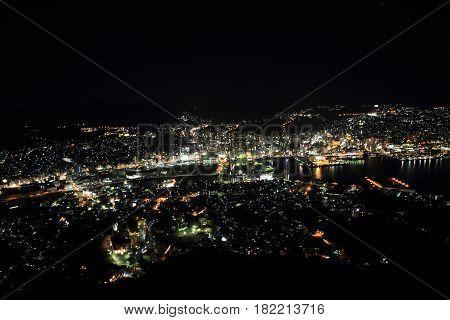Night View Of Nagasaki, Japan From Top Of Mount Inasa
