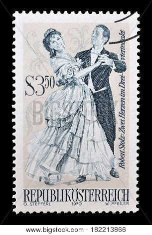 AUSTRIA - CIRCA 1970 : Cancelled postage stamp printed by Austria, that shows Man and woman dancing.