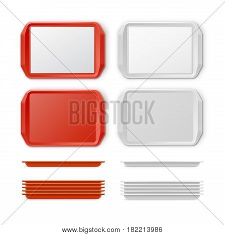 Vector Set of Rectangular Red White Plastic Tray salver with Handles Top View Isolated on Background