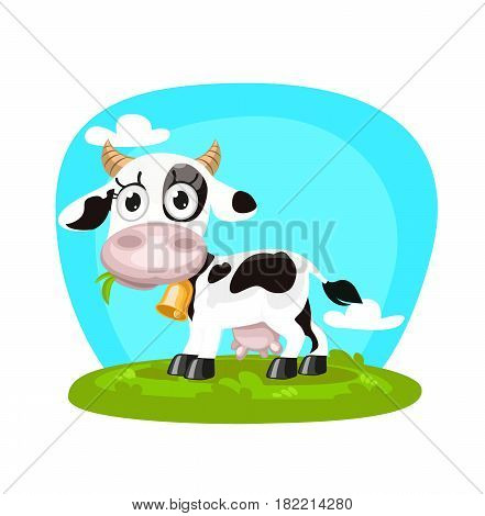 Cute cartoon cow in green grass. Vector stock.