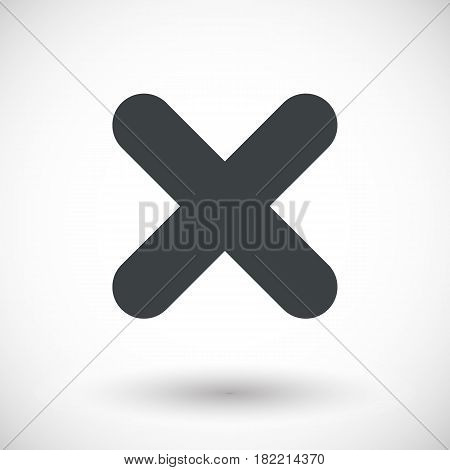 Single close mark icon. Flat design vector illustration with round shadow